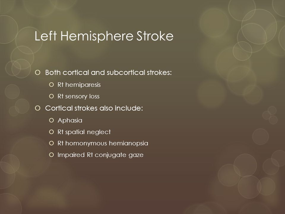 Deep Subcortical Strokes  Hemiparesis (pure motor) or sensory loss (pure sensory)  Dysarthria and clumsy-hand with dysarthria  Ataxic hemiparesis  No cognitive, visual or language abnormalities