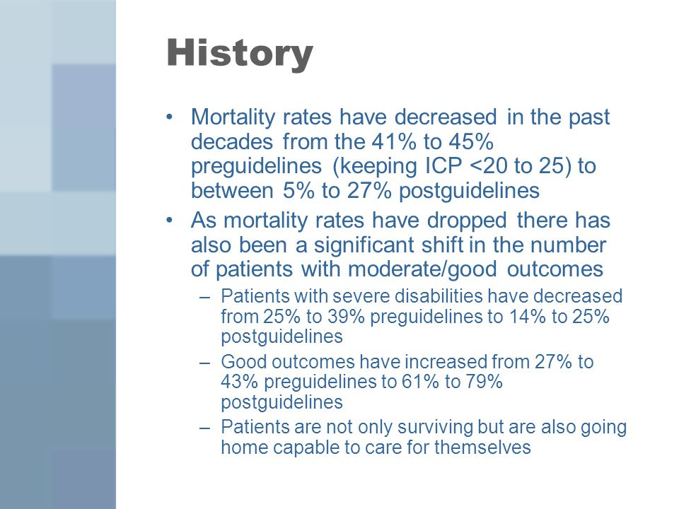 History Mortality rates have decreased in the past decades from the 41% to 45% preguidelines (keeping ICP <20 to 25) to between 5% to 27% postguidelin