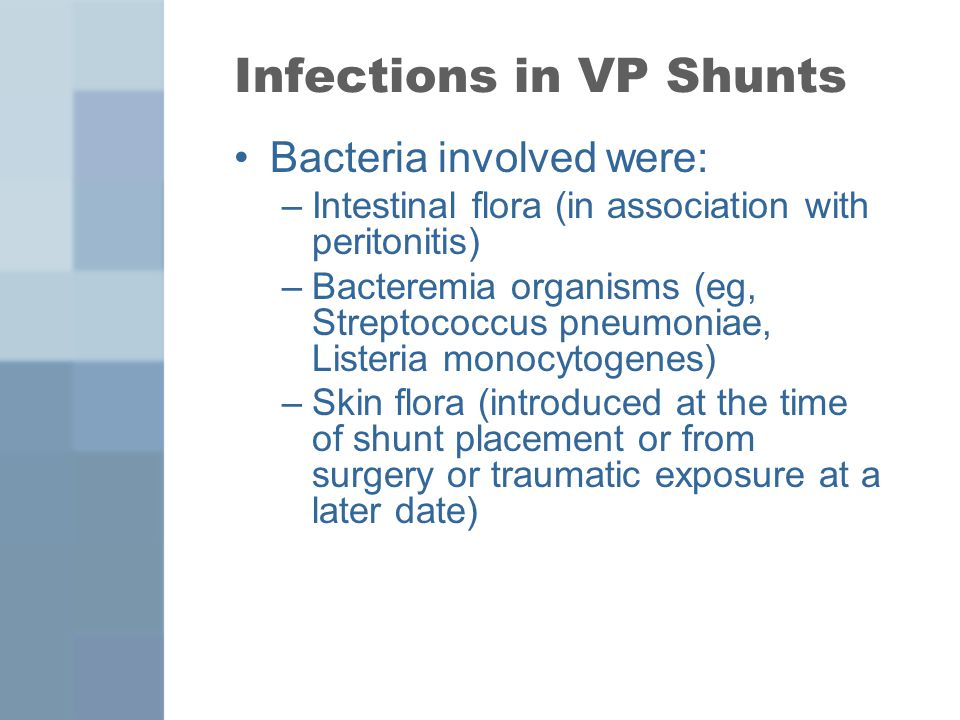 Infections in VP Shunts Bacteria involved were: –Intestinal flora (in association with peritonitis) –Bacteremia organisms (eg, Streptococcus pneumonia