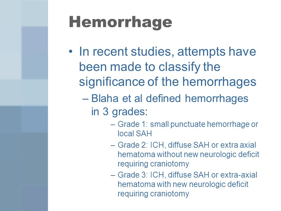 Hemorrhage In recent studies, attempts have been made to classify the significance of the hemorrhages –Blaha et al defined hemorrhages in 3 grades: –G