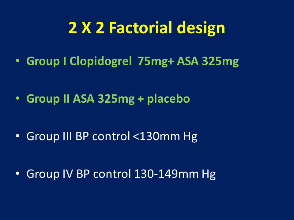 2 X 2 Factorial design Group I Clopidogrel 75mg+ ASA 325mg Group II ASA 325mg + placebo Group III BP control <130mm Hg Group IV BP control 130-149mm Hg