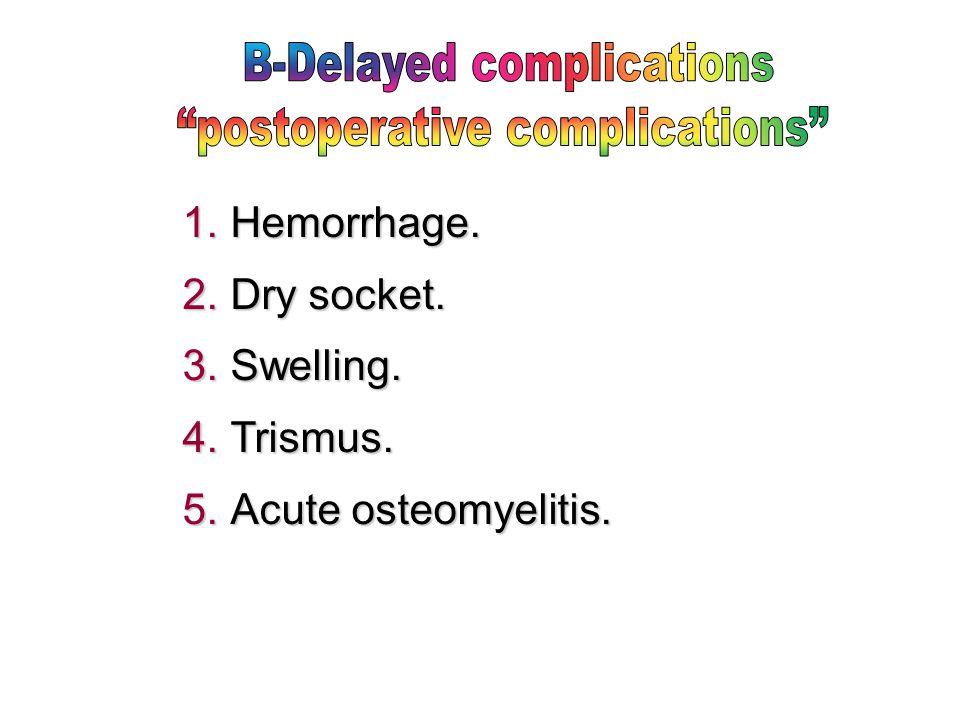  Hemorrhage.  Dry socket.  Swelling.  Trismus.  Acute osteomyelitis.