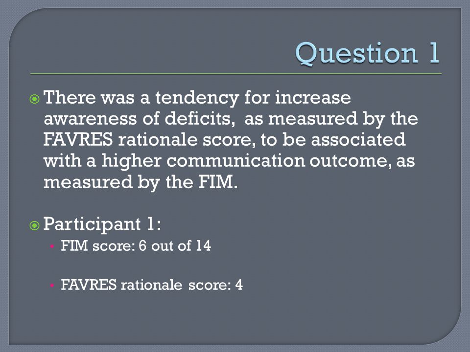 There was a tendency for increase awareness of deficits, as measured by the FAVRES rationale score, to be associated with a higher communication outcome, as measured by the FIM.