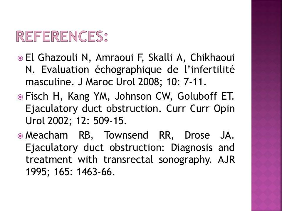  El Ghazouli N, Amraoui F, Skalli A, Chikhaoui N. Evaluation échographique de l'infertilité masculine. J Maroc Urol 2008; 10: 7-11.  Fisch H, Kang Y