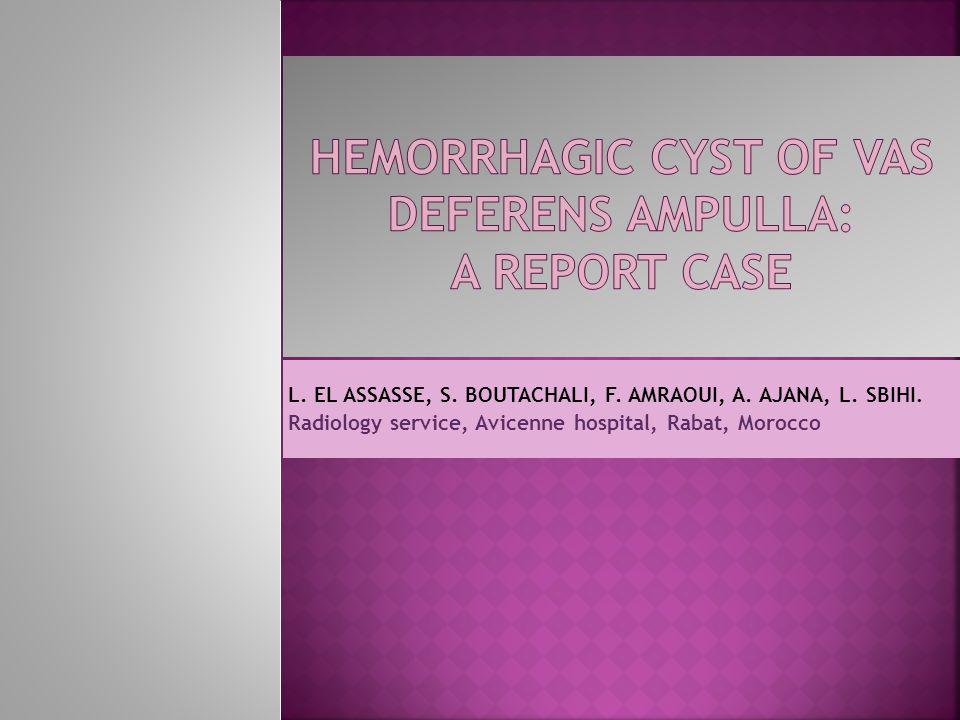 L. EL ASSASSE, S. BOUTACHALI, F. AMRAOUI, A. AJANA, L. SBIHI. Radiology service, Avicenne hospital, Rabat, Morocco