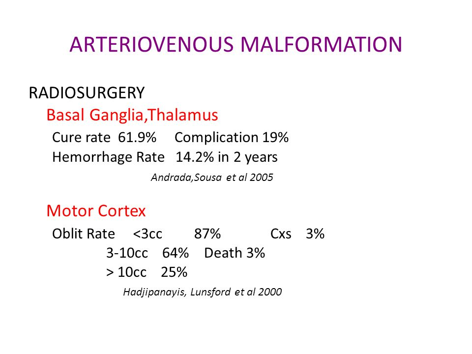 ARTERIOVENOUS MALFORMATION RADIOSURGERY Basal Ganglia,Thalamus Cure rate 61.9% Complication 19% Hemorrhage Rate 14.2% in 2 years Andrada,Sousa et al 2005 Motor Cortex Oblit Rate <3cc 87% Cxs 3% 3-10cc 64% Death 3% > 10cc 25% Hadjipanayis, Lunsford et al 2000