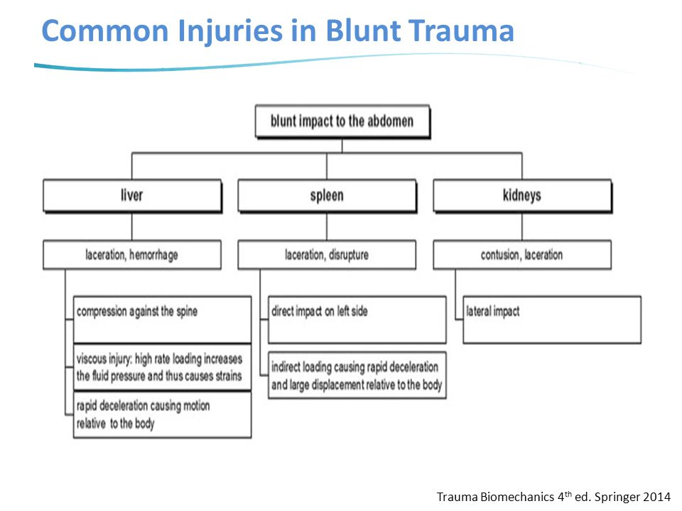 Common Injuries in Blunt Trauma Trauma Biomechanics 4 th ed. Springer 2014