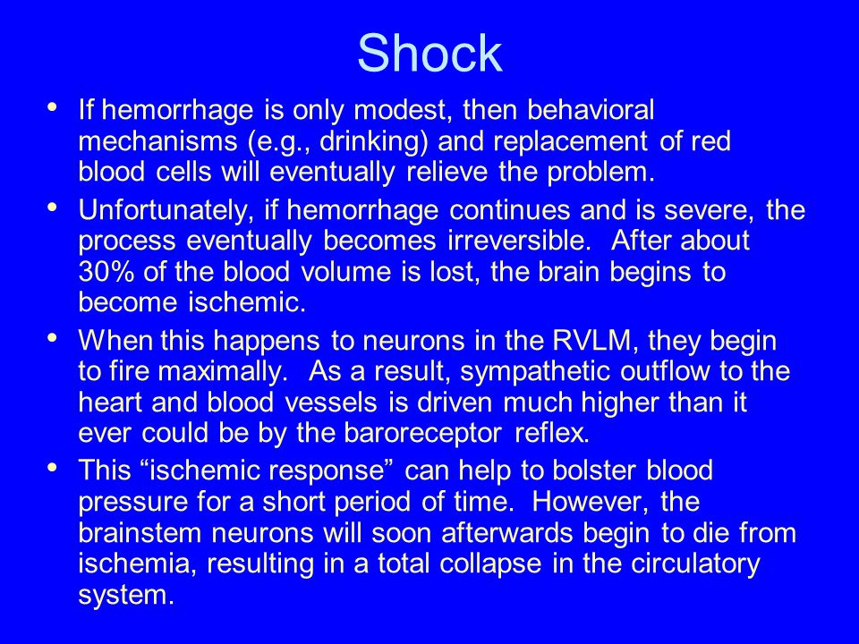 Shock If hemorrhage is only modest, then behavioral mechanisms (e.g., drinking) and replacement of red blood cells will eventually relieve the problem