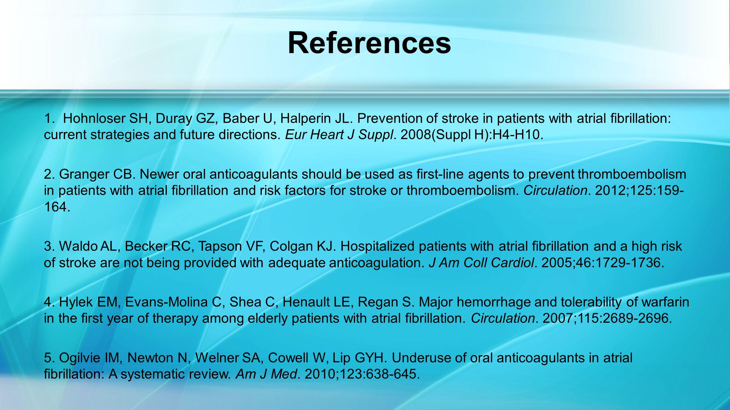 References 1. Hohnloser SH, Duray GZ, Baber U, Halperin JL.