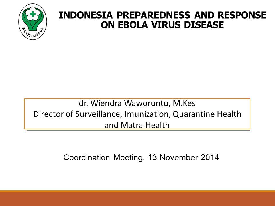 INDONESIA PREPAREDNESS AND RESPONSE ON EBOLA VIRUS DISEASE Coordination Meeting, 13 November 2014 dr.
