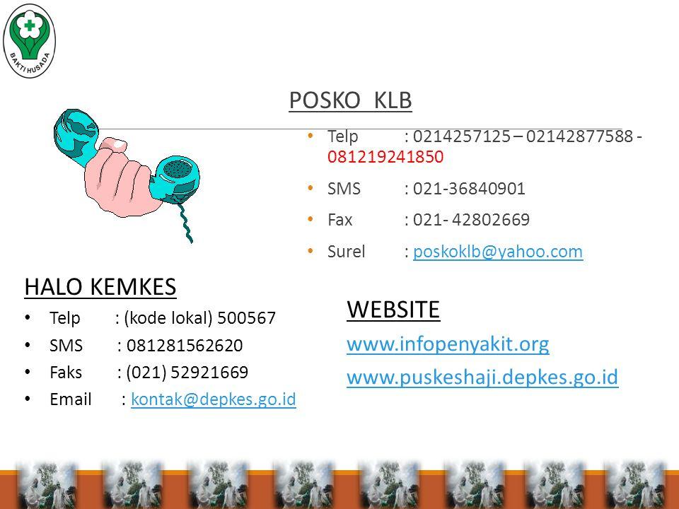 POSKO KLB Telp: 0214257125 – 02142877588 - 081219241850 SMS: 021-36840901 Fax: 021- 42802669 Surel: poskoklb@yahoo.composkoklb@yahoo.com HALO KEMKES Telp : (kode lokal) 500567 SMS : 081281562620 Faks : (021) 52921669 Email : kontak@depkes.go.idkontak@depkes.go.id WEBSITE www.infopenyakit.org www.puskeshaji.depkes.go.id