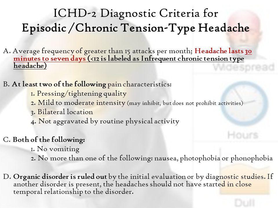 ICHD-2 Diagnostic Criteria for Episodic /Chronic Tension-Type Headache A.