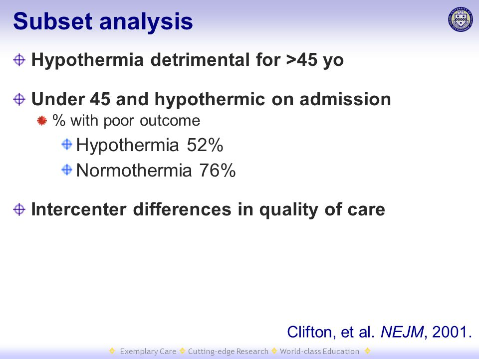  Exemplary Care  Cutting-edge Research  World-class Education  Subset analysis Hypothermia detrimental for >45 yo Under 45 and hypothermic on admi