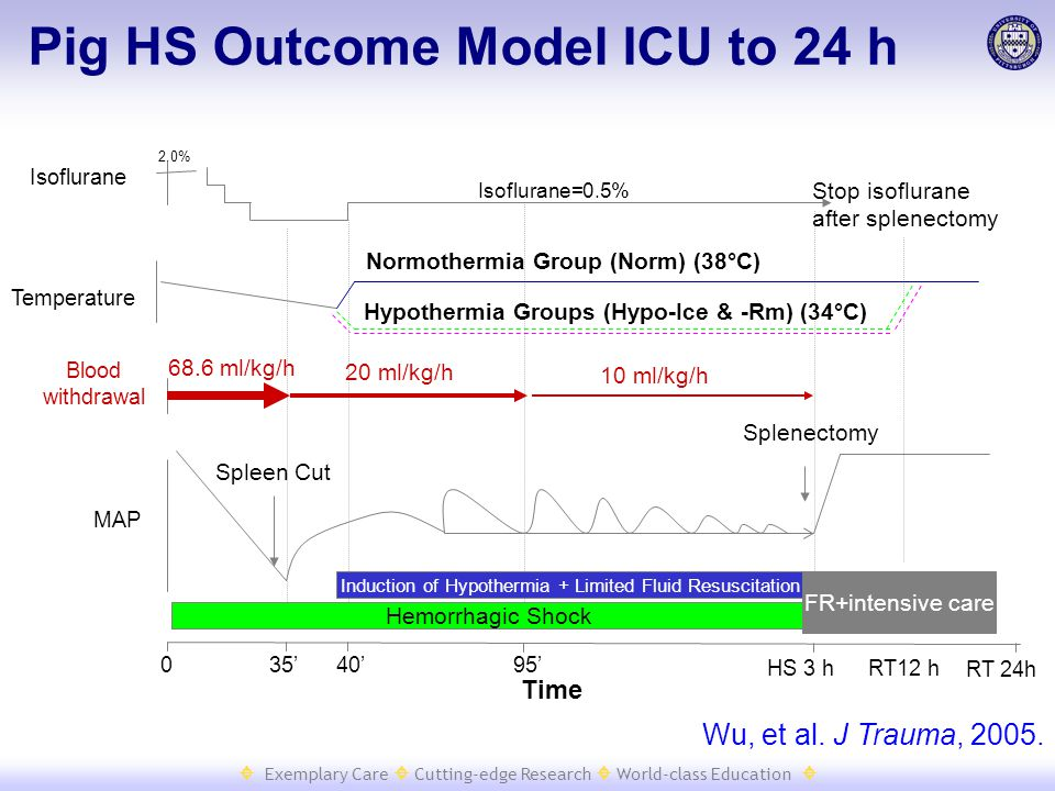  Exemplary Care  Cutting-edge Research  World-class Education  Isoflurane=0.5% 2.0% Time Isoflurane MAP Blood withdrawal 68.6 ml/kg/h 20 ml/kg/h 10 ml/kg/h Hemorrhagic Shock Stop isoflurane after splenectomy FR+intensive care HS 3 h RT 24h 40' Splenectomy Spleen Cut RT12 h 35'95' 0 Temperature Induction of Hypothermia + Limited Fluid Resuscitation Normothermia Group (Norm) (38°C) Hypothermia Groups (Hypo-Ice & -Rm) (34°C) Wu, et al.