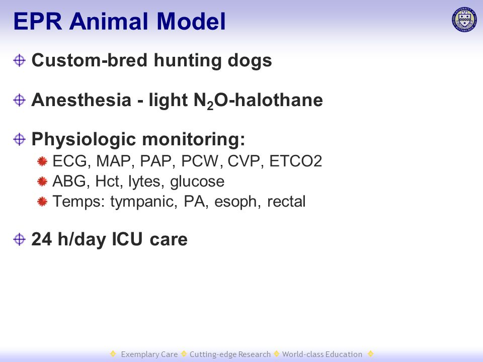  Exemplary Care  Cutting-edge Research  World-class Education  EPR Animal Model Custom-bred hunting dogs Anesthesia - light N 2 O-halothane Physio