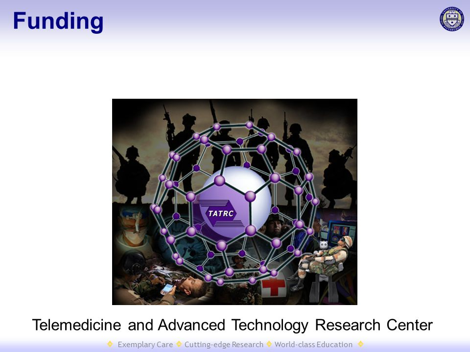  Exemplary Care  Cutting-edge Research  World-class Education  Funding Telemedicine and Advanced Technology Research Center