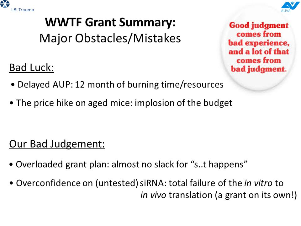 """WWTF Grant Summary: Major Obstacles/Mistakes Overloaded grant plan: almost no slack for """"s..t happens"""" Overconfidence on (untested) siRNA: total failu"""