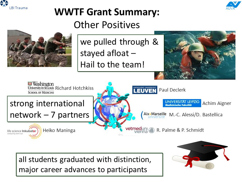 WWTF Grant Summary: Other Positives LBI Trauma AUVA we pulled through & stayed afloat – Hail to the team! strong international network – 7 partners al