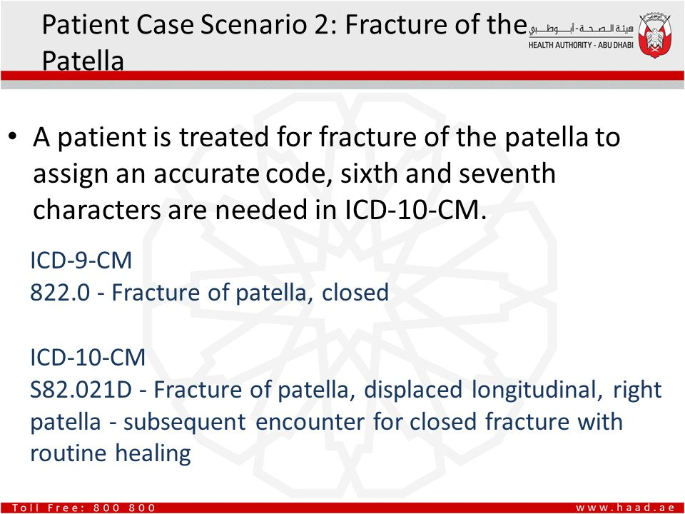 A patient is treated for fracture of the patella to assign an accurate code, sixth and seventh characters are needed in ICD-10-CM. Patient Case Scenar