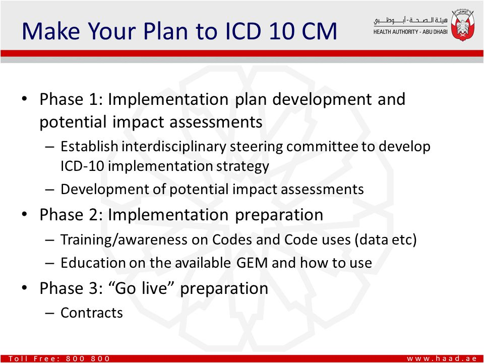Make Your Plan to ICD 10 CM Phase 1: Implementation plan development and potential impact assessments – Establish interdisciplinary steering committee