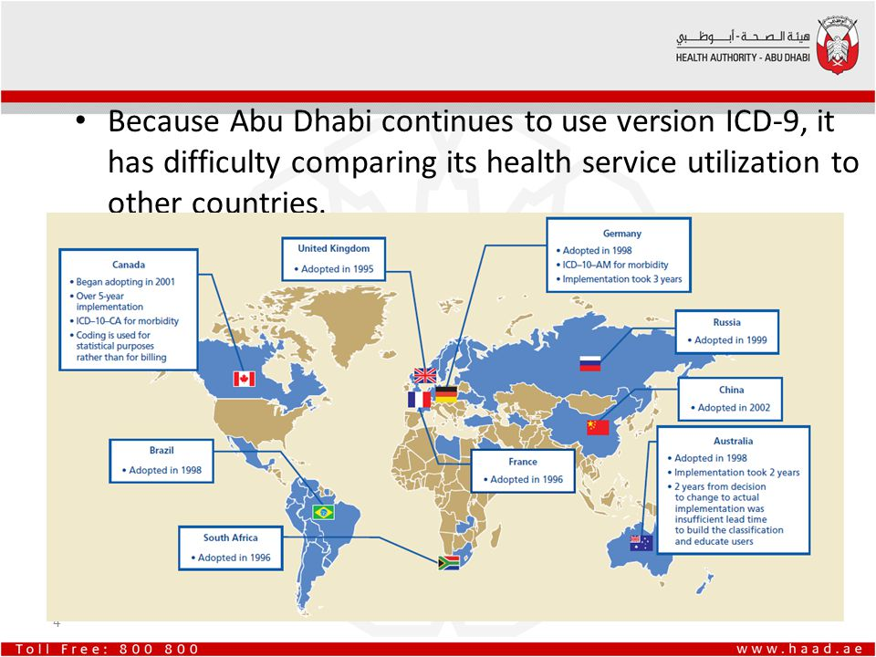 Because Abu Dhabi continues to use version ICD-9, it has difficulty comparing its health service utilization to other countries. 4