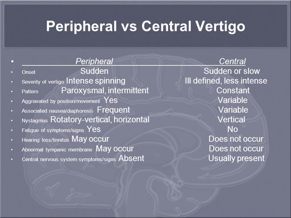 Peripheral vs Central Vertigo Peripheral Central Onset Sudden Sudden or slow Severity of vertigo Intense spinning Ill defined, less intense Pattern Pa
