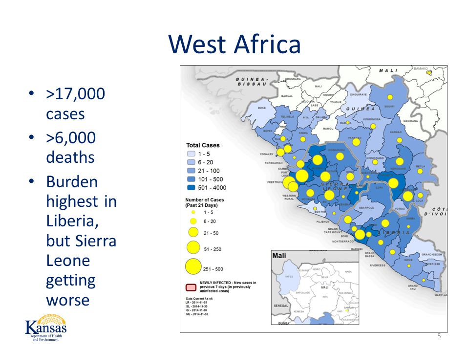 West Africa 5 >17,000 cases >6,000 deaths Burden highest in Liberia, but Sierra Leone getting worse