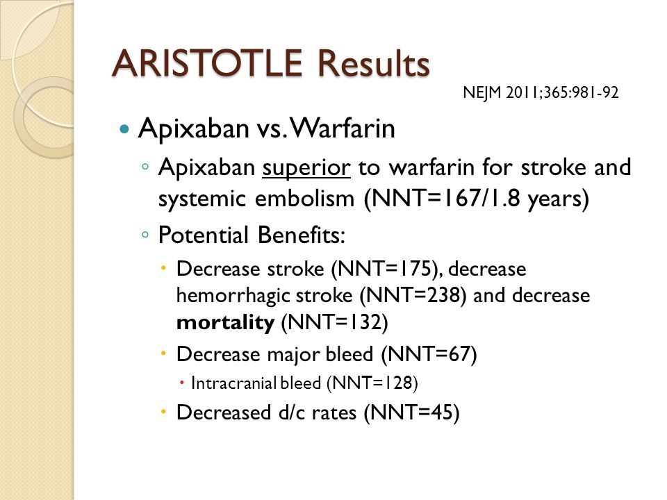 ARISTOTLE Results Apixaban vs. Warfarin ◦ Apixaban superior to warfarin for stroke and systemic embolism (NNT=167/1.8 years) ◦ Potential Benefits:  D