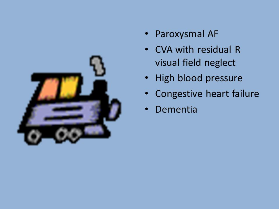 Paroxysmal AF CVA with residual R visual field neglect High blood pressure Congestive heart failure Dementia