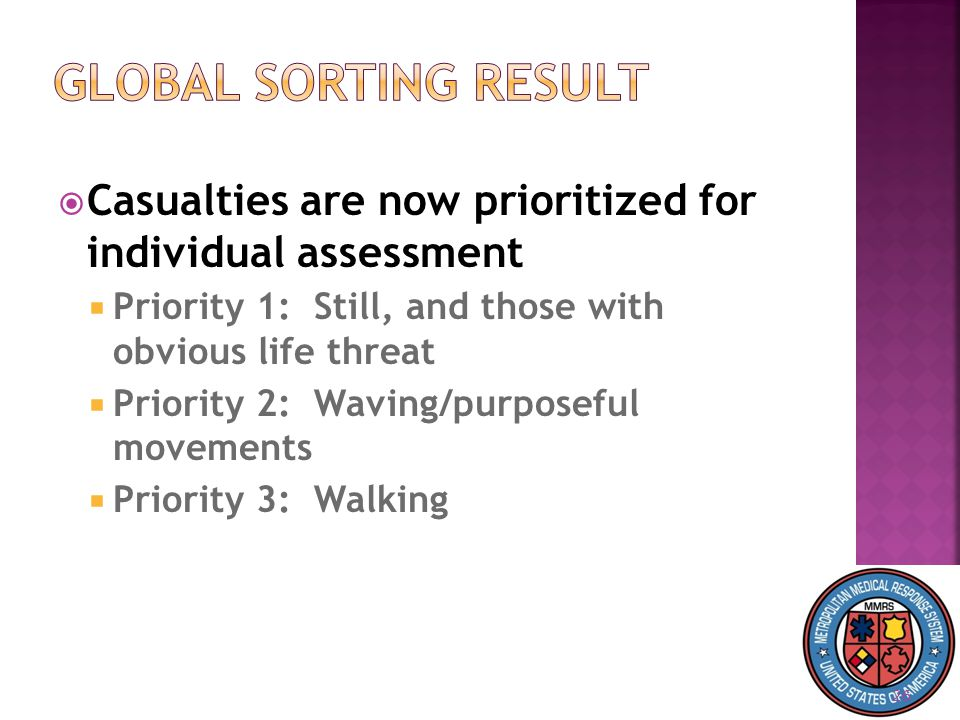 26  Casualties are now prioritized for individual assessment  Priority 1: Still, and those with obvious life threat  Priority 2: Waving/purposeful movements  Priority 3: Walking