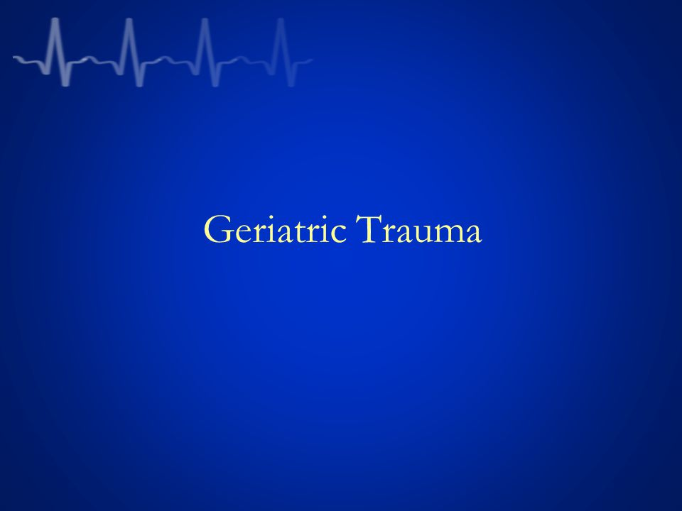 Trauma Epidemiology Overall incidence of TBI in ER is 444 cases/100,000 persons in the US Incidence increases in the elderly and peaks at 1,026/100,000 in patients older than 85 Females> males ( younger patients 1.6 times likely to be male SDH far more common: 46% of TBI vs 28% in young cohort Epidural hematoma less common Elderly have more pedestrian accidents and falls