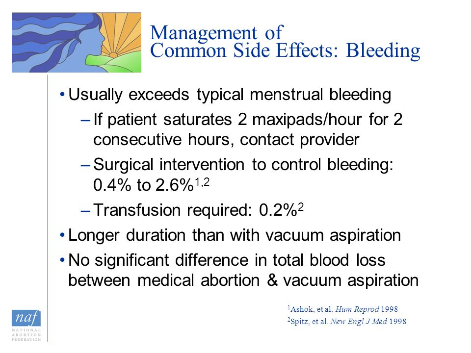Management of Common Side Effects: Bleeding Usually exceeds typical menstrual bleeding –If patient saturates 2 maxipads/hour for 2 consecutive hours,