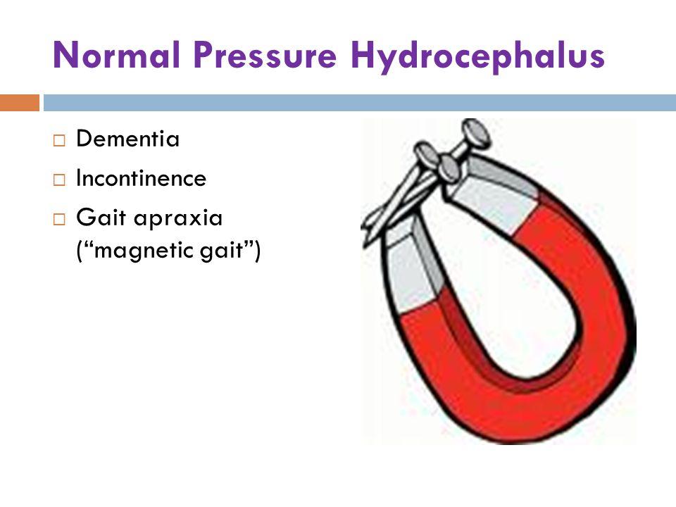 Normal Pressure Hydrocephalus  Dementia  Incontinence  Gait apraxia ( magnetic gait )