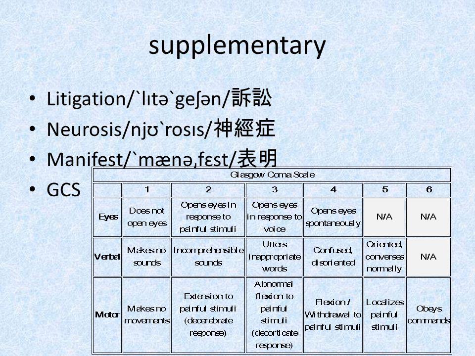 supplementary Litigation/ˋlɪtəˋgeʃən/ 訴訟 Neurosis/njʊˋrosɪs/ 神經症 Manifest/ˋmænə͵fɛst/ 表明 GCS