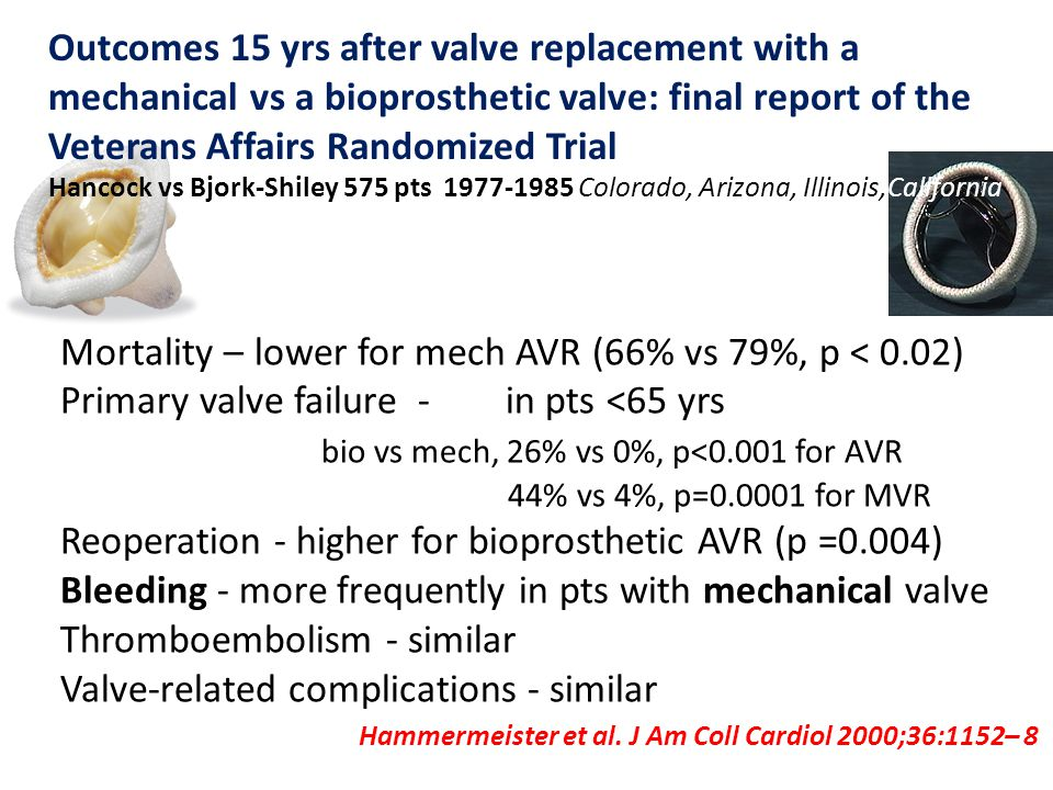 Hammermeister et al. J Am Coll Cardiol 2000;36:1152– 8 Outcomes 15 yrs after valve replacement with a mechanical vs a bioprosthetic valve: final repor