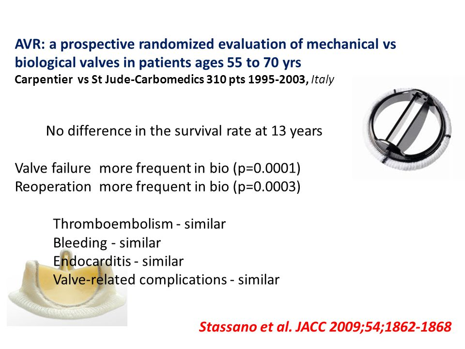 Stassano et al. JACC 2009;54;1862-1868 AVR: a prospective randomized evaluation of mechanical vs biological valves in patients ages 55 to 70 yrs Carpe