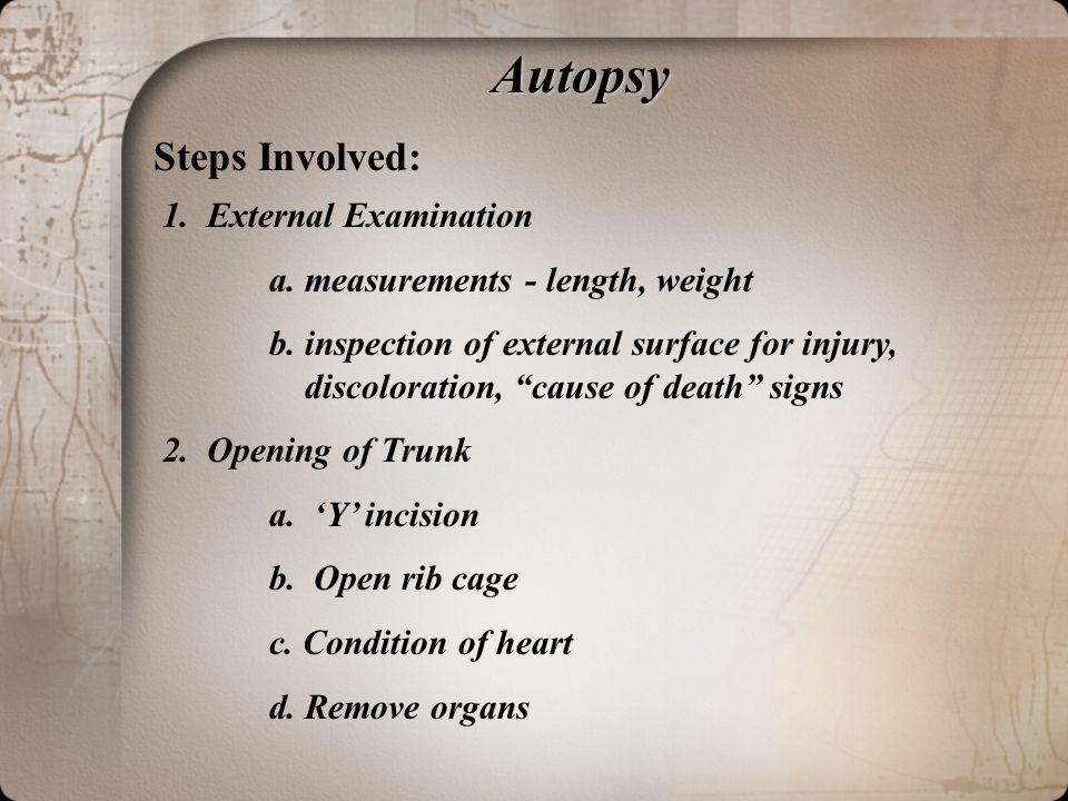 Autopsy Steps Involved: 1.External Examination a.