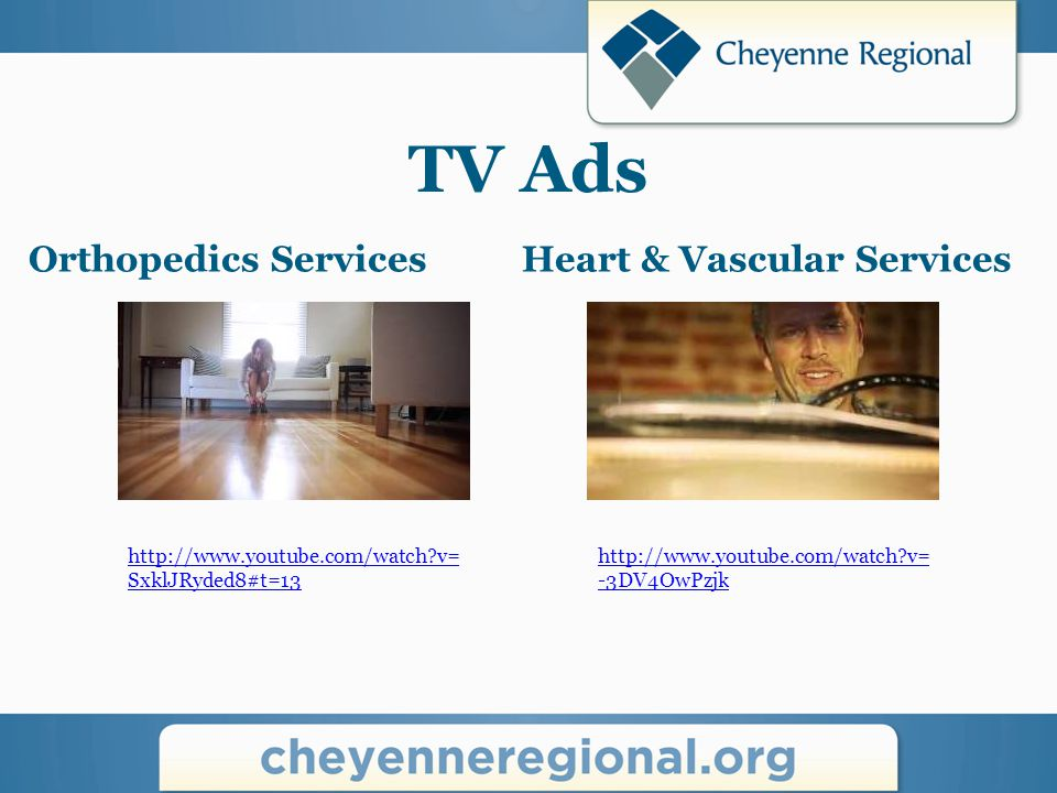TV Ads Cancer Services http://www.youtube.com/watch?v= uM9fJHH9hL0 CRMG http://www.youtube.com/watch?v= 5CQ2FvxI2Kg