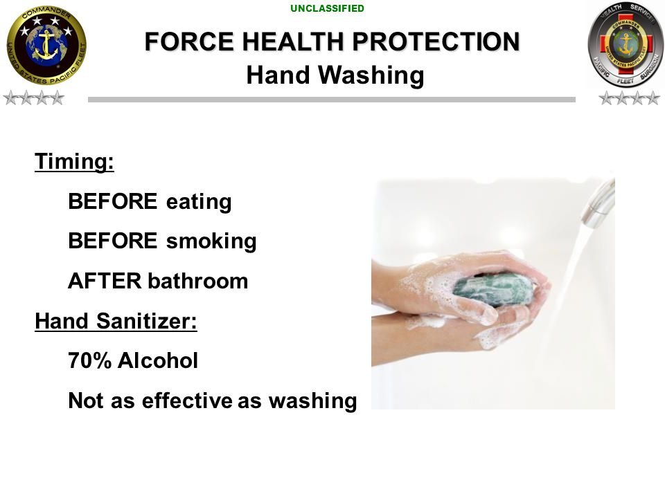 UNCLASSIFIED FORCE HEALTH PROTECTION Transmission: Various; tainted food and water, poor sanitation.