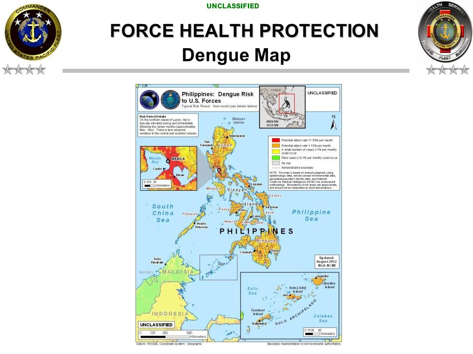 UNCLASSIFIED FORCE HEALTH PROTECTION Sexually Transmitted Disease HIGH = Hepatitis B INTERMEDIATE RISK = Gonorrhea, HIV/AIDS, Chlamydia.