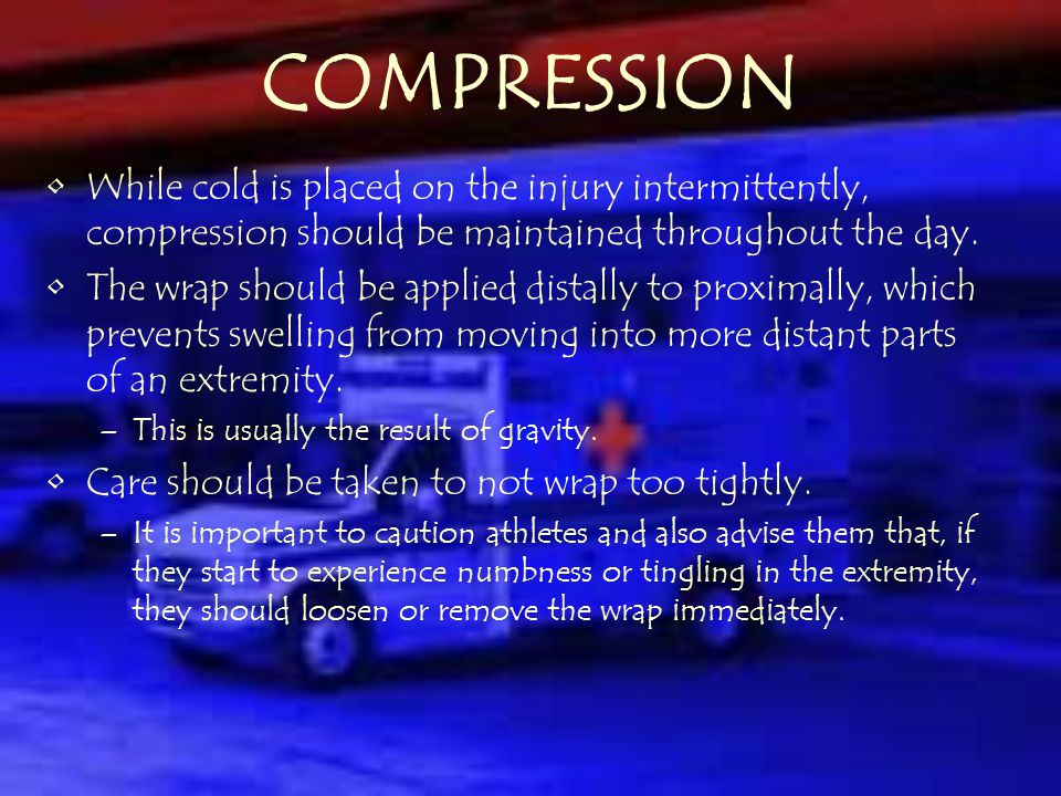 ICE (Cold Application ) An effective first aid agent that reduces pain and spasm in the first 4-6 hours after an injury.