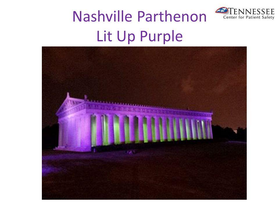 Nashville Parthenon Lit Up Purple