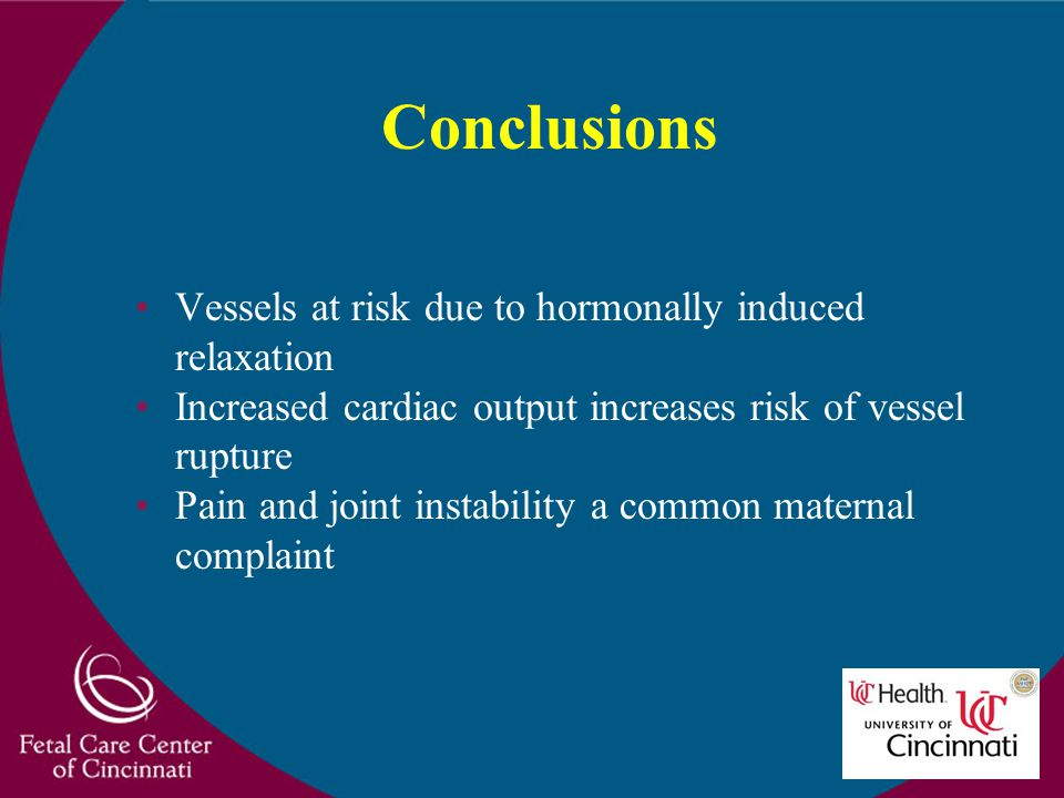 Conclusions Vessels at risk due to hormonally induced relaxation Increased cardiac output increases risk of vessel rupture Pain and joint instability
