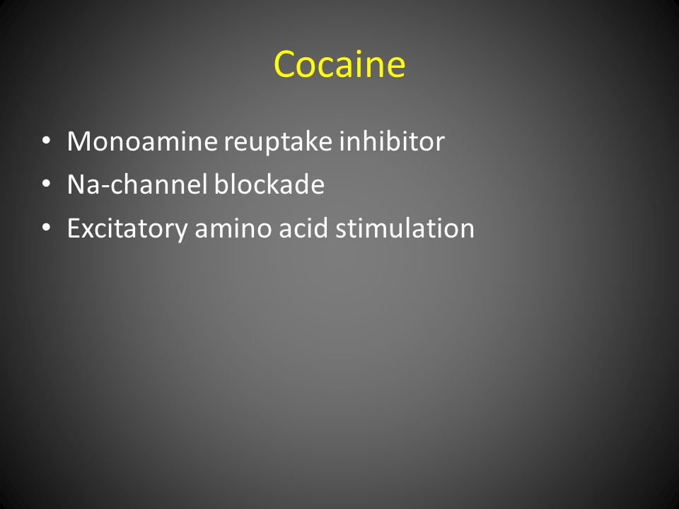 Cocaine Monoamine reuptake inhibitor Na-channel blockade Excitatory amino acid stimulation