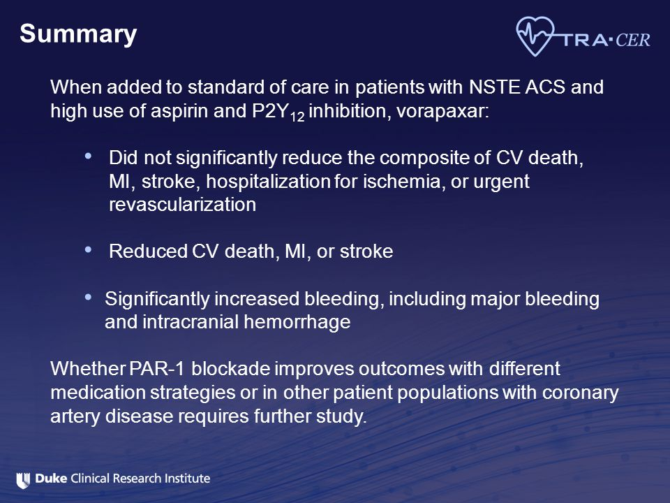 Summary When added to standard of care in patients with NSTE ACS and high use of aspirin and P2Y 12 inhibition, vorapaxar: Did not significantly reduc