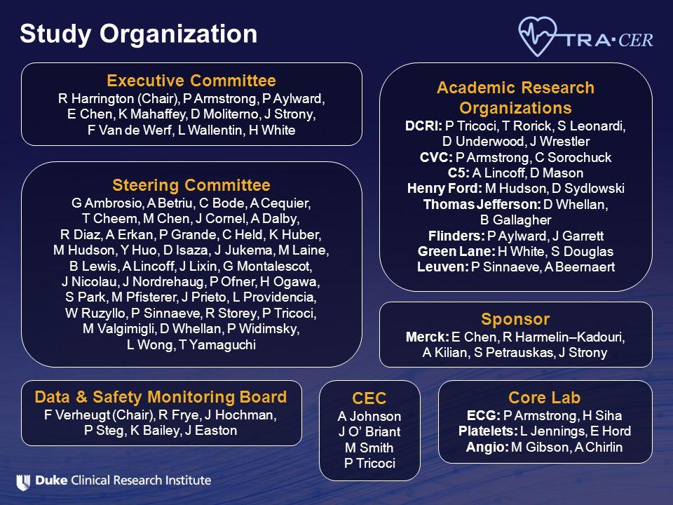 Executive Committee R Harrington (Chair), P Armstrong, P Aylward, E Chen, K Mahaffey, D Moliterno, J Strony, F Van de Werf, L Wallentin, H White Data
