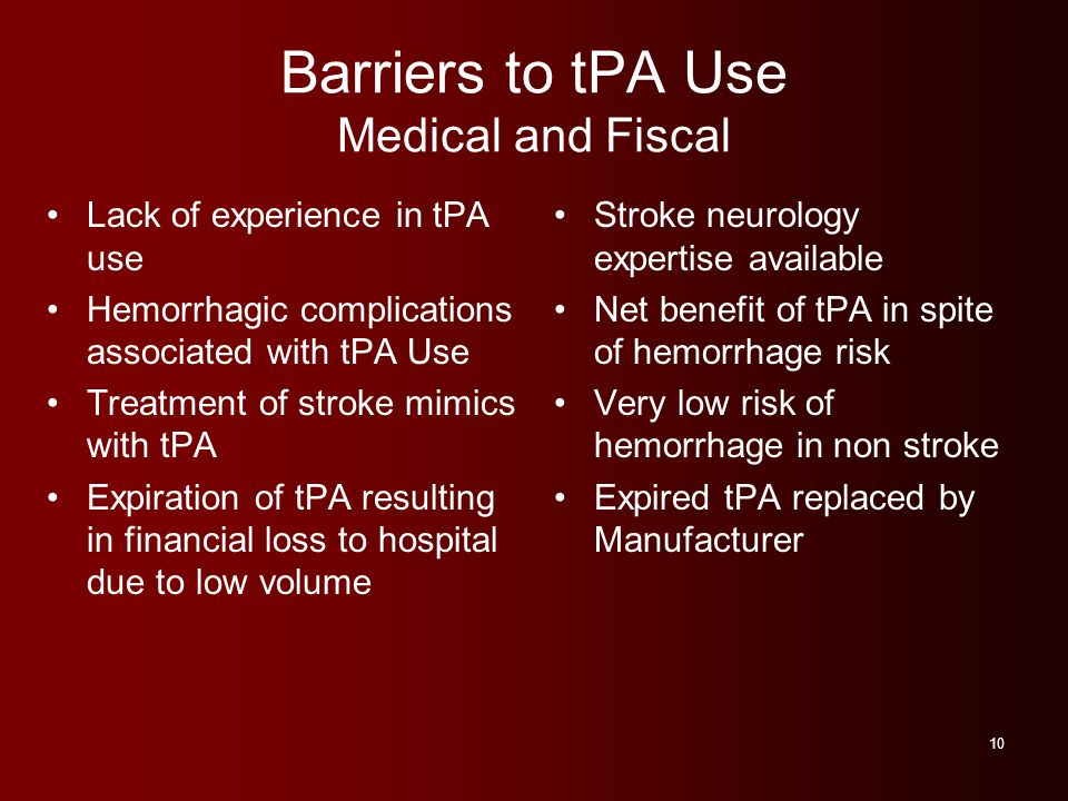 Barriers to tPA Use Medical and Fiscal Lack of experience in tPA use Hemorrhagic complications associated with tPA Use Treatment of stroke mimics with tPA Expiration of tPA resulting in financial loss to hospital due to low volume Stroke neurology expertise available Net benefit of tPA in spite of hemorrhage risk Very low risk of hemorrhage in non stroke Expired tPA replaced by Manufacturer 10