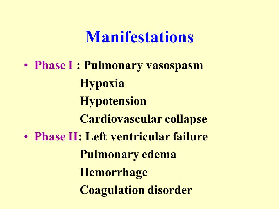 Manifestations Phase I : Pulmonary vasospasm Hypoxia Hypotension Cardiovascular collapse Phase II: Left ventricular failure Pulmonary edema Hemorrhage Coagulation disorder