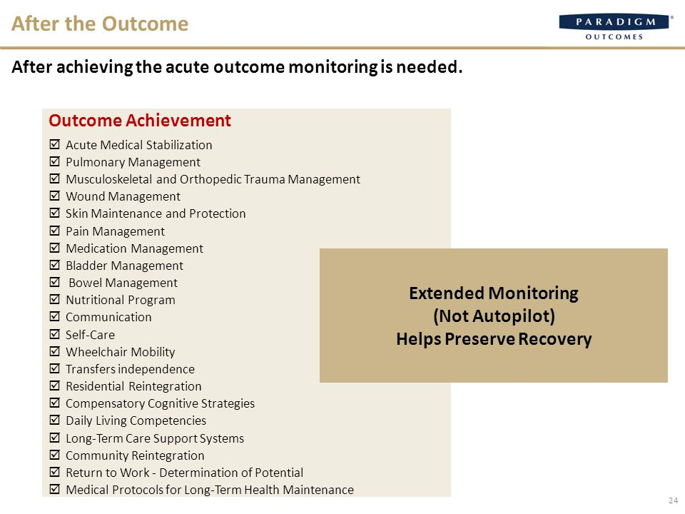 After the Outcome After achieving the acute outcome monitoring is needed.