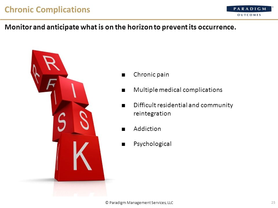 Chronic Complications Monitor and anticipate what is on the horizon to prevent its occurrence.